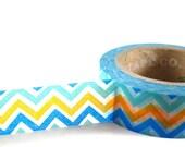 TEAL / BLUE /  ORANGE Chevron - Japanese Washi Style Decorative Masking Tape - 11 yards (10 meters)