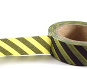 BLACK / YELLOW Diagonal Stripe - Japanese Washi Style Decorative Masking Tape - 11 yards (10 meters)