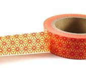 ORANGE / RED Geometric Star - Japanese Washi Style Decorative Masking Tape - 11 yards (10 meters)