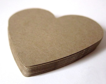 """Set of 24 - 2 1/2"""" inches wide - KRAFT - Large Hearts - Hand Punched Blank Cardstock - Die Cut Gift Hang Tags"""
