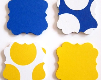 Set of 40 - 2 x 2 inches - BLUE / YELLOW Big Polka Dots - Square Bracket - Hand Punched Blank Cardstock - Gift, Merchandise, Hang Tags