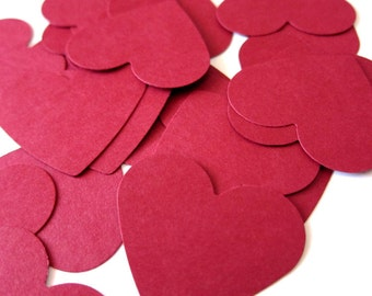 """Set of 40 - 1 1/2"""" inches wide - RED - Medium Hearts - Hand Punched Blank Cardstock - Die Cut Gift Hang Tags"""