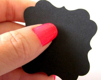 Set of 40 - 2 x 2 inches - BLACK - Square Bracket - Hand Punched Blank Cardstock - Die Cut Gift Merchandise Hang Tags