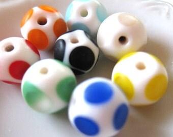8 pcs - 11mm - Handmade Colorful Round Ceramic Beads - G030