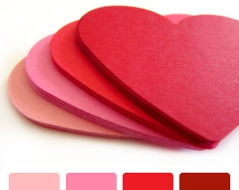 """Set of 20 - 2 1/2"""" inches wide - Shades of RED - Large Hearts - Hand Punched Blank Cardstock - Die Cut Gift Hang Tags"""