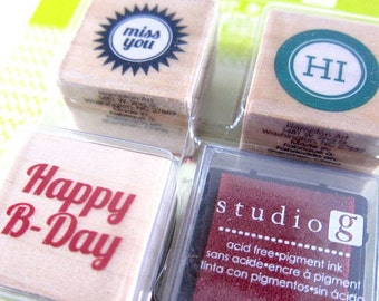 Set of 3 Stamps with Ink Pad n.2 - Happy B-Day, Miss You, HI - rubber stamps