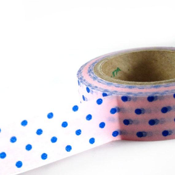 PINK with BLUE Polka Dots - Japanese Washi Style Decorative Masking Tape - 11 yards (10 meters)