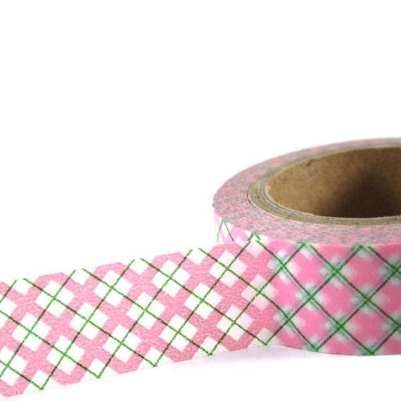 PINK / GREEN Plaid - Japanese Washi Style Decorative Masking Tape - 11 yards (10 meters)