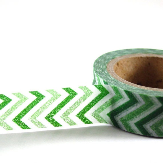 GREEN ZigZag - Japanese Washi Style Decorative Masking Tape - 11 yards (10 meters)