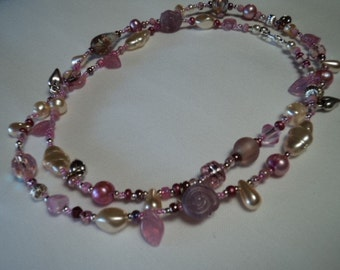 Hearts 'n Real Dyed Pink Pearls Necklace