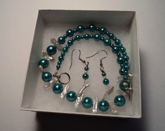 Teal Glass Pearl Sticks Necklace Set