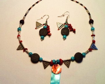 Southwestern Indian Style Necklace with Earrings