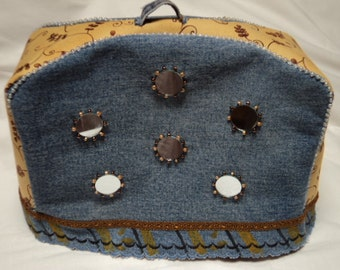 Funky Recycled Denim Mirrored Toaster Cover
