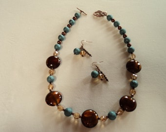 Turquoise, Chocolate and Copper Necklace with Earrings