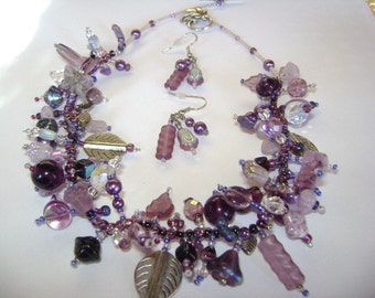 Purples Galore Necklace and Earrings