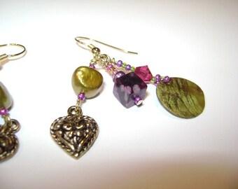 Raspberry Swarvoski Crystal and Chartreuse Pearl Dangle Earrings
