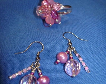 Pink pearls ring and earring set