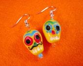 Dia de los muertos sugar skulls, handmade dangling earrings