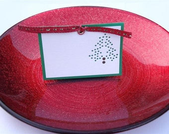 Oh Christmas Tree - Four (4) Premium Hand-hammered Greeting Art/Place Cards - Textured Card Stock DDOTS