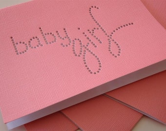Baby Girl - Hand-hammered DDOTS Greeting Art Card - Coral PINK - Celebrate Baby, Christening, Birthday, Baby Shower