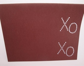 XO XO  - One Premium Hand-hammered Greeting Art Card - Textured Card Stock DDOTS