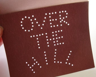 Over the Hill Art Card - Chocolate Brown - Hand-hammered Custom by DDOTS - Send me a Convo for a Personalized Birthday Wish