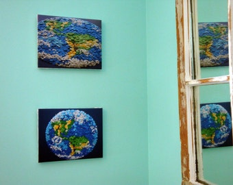 Dotted Planet Earth - (Quantity 2) 8X10 Sized Giclee Prints on Stretched Canvas - Etsy and Nasa Contest Entry DDOTS