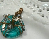 Turquoise and Dirty Gold Pendant - reserved