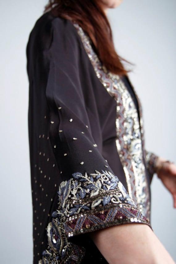 Retro 1930's Embroidered Sequin SILK kimono