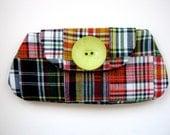 Preppy Plaid Orange, Yellow, Green - Clutch Bag