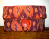 Orange Fold Over Clutch,  Ikat  tribal, Womans Fashion