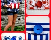 Patriotic Wallet  Wristlet Purse Clutch Nautical - Red and White Stripe