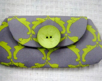 Grey and Chartreuse Large Clutch Bag