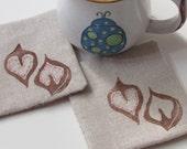 Heartnut fabric coasters-Set of 4