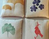 Hand-printed lavender sachets
