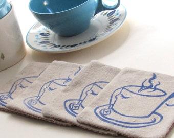 Blue Teacup coasters-SET OF 4