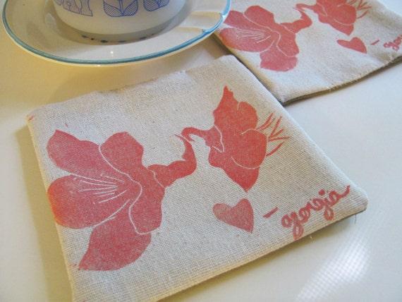 Peach blossom fabric coasters-Set of 4