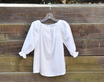 Peasant Blouse in White