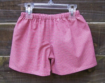 Boys Shorts in Red Gingham