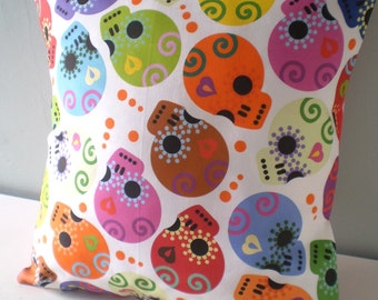 Calaveras Day of the Dead sugar skull Pillow Cover pastel goth