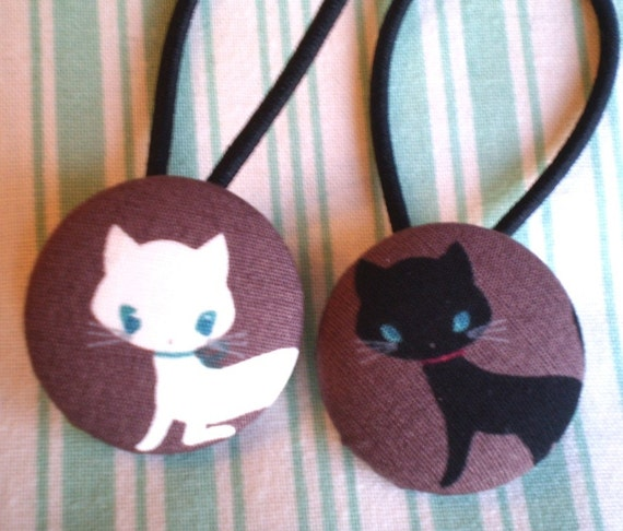 Kitty Cat button Ponytail Holders x 2 Large