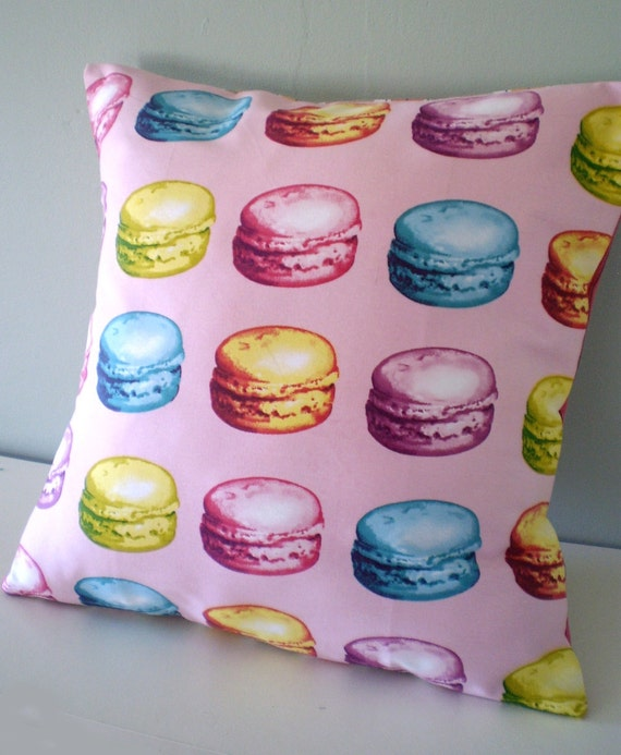 Macaroon cakes Upcycled Teatowel Cushion / Pillow cover