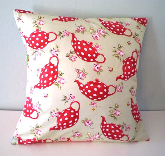 Red Spotty Teapot Cushion / Pillow cover