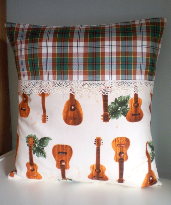 Tiki Ukelele OOAK cushion / pillow cover
