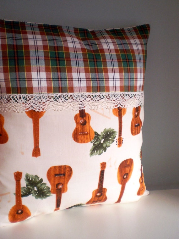 Tiki Ukelele OOAK cushion / pillow cover