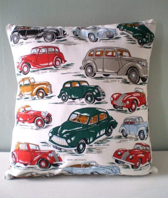 OOAK Classic Car Cushion / Pillow cover Upcycled Teatowel