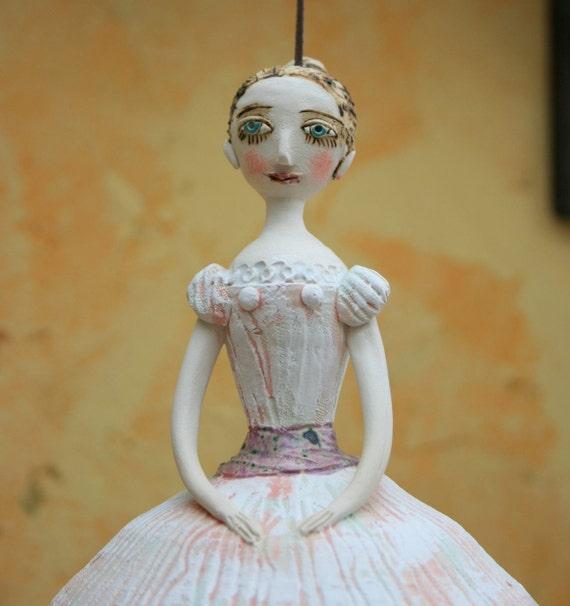 Ceramic bell-doll, Russian ballerina. Unique piece of ceramic art