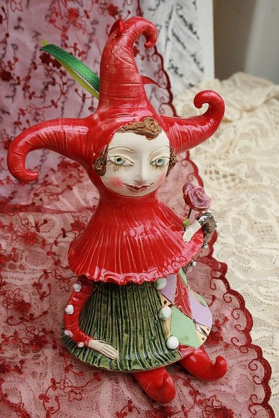 Ceramic Joker. Doll, bell and sculpture. Jester.