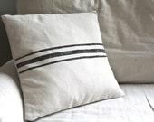 STORE SALE Grain Sack Style Pillow Cover Black Tan Canvas