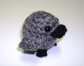 Tiny Plush Duckling in Charcoal - Choose Your Egg Color